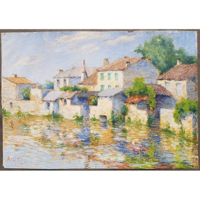 French School 1911 Houses On The Edge Of Water