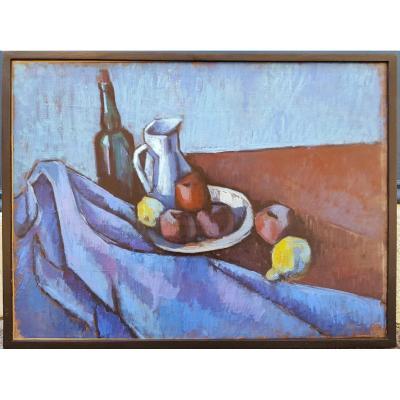 Jean Planque (1910-1998) Nature morte sur fond bleu