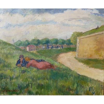 Louis Audibert (1880-1983) Couple devant les fortifications