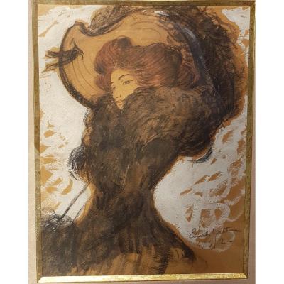 Emile Bertin (1878-1957) Élégante au chapeau