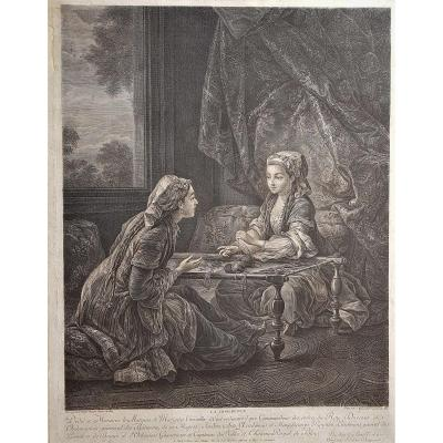 18th Century Print La Confidence Painted By Carle Van Loo Engraved By J Beauvarlet