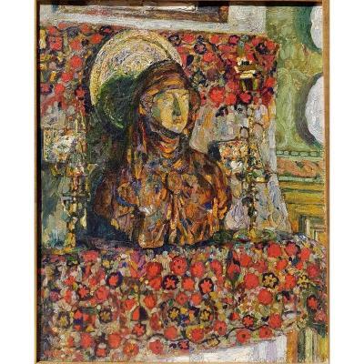 Augustin Carrera (1878-1952) Buste dans l'atelier 1910