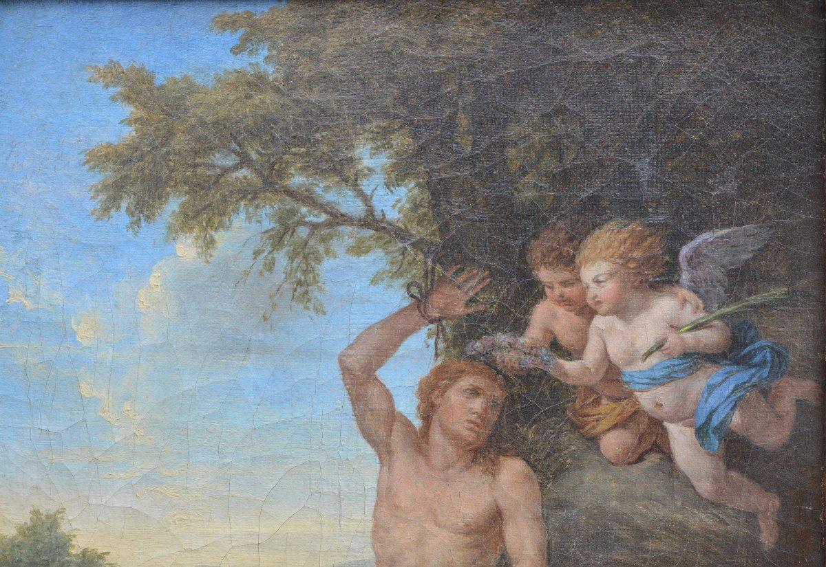 Louis-jean François Lagrenée, Two Angels Bringing A Crown To Saint-sébastien.-photo-3