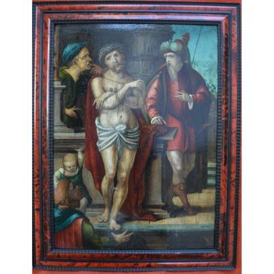 Ecole Anversoise, Entourage d'Hendrick Goltzius (1558-1617). XVIème. Ecce Homo.