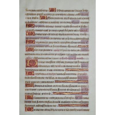Feuillet Manuscrit  Du XVème. Livre d'Heures.