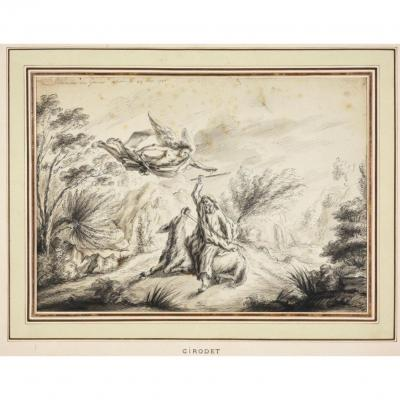 Dessin d' Anne-Louis Girodet, l' Ange de Dieu et l' Ânesse de Balaam, 1780.
