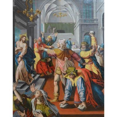 Ecole Néerlandaise Du XVIème. Le Christ Outragé.