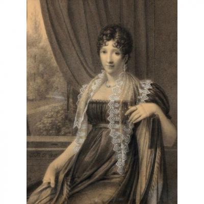 Dessin De Jean-Baptiste Isabey, Jeune Femme. 1807.