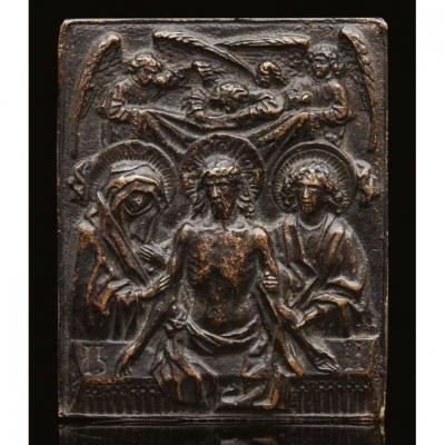 Bronze Plate, Christ Coming From The Tomb, Germany, XVIth, After Hans Multscher.