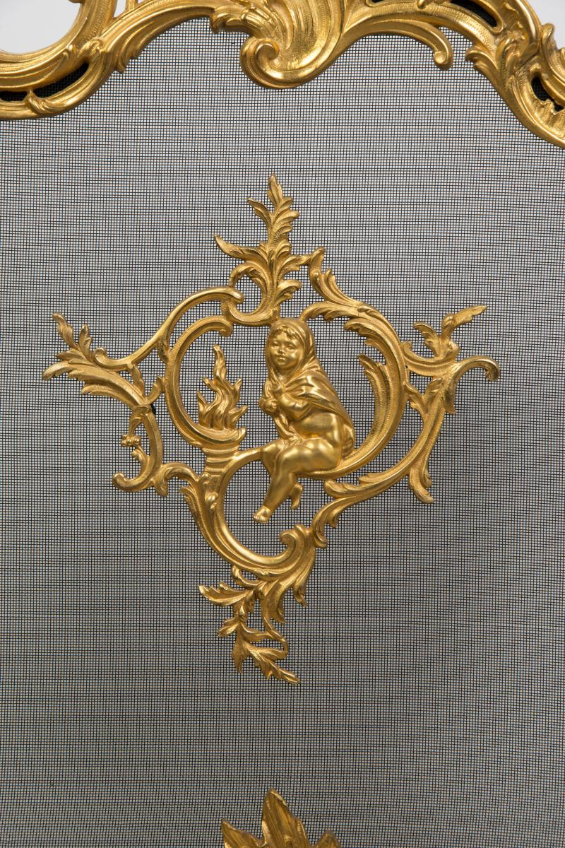 Fireplace Screen Carved Rich Decor Bronze Louis XV Style In Perfect Condition.-photo-3