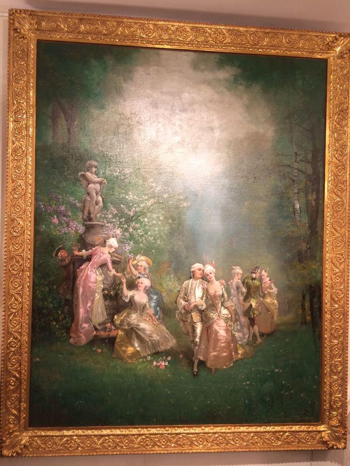 """""""La Promenade Dans Le Parc"""" - Theodore Levigne (1848-1912 )"""