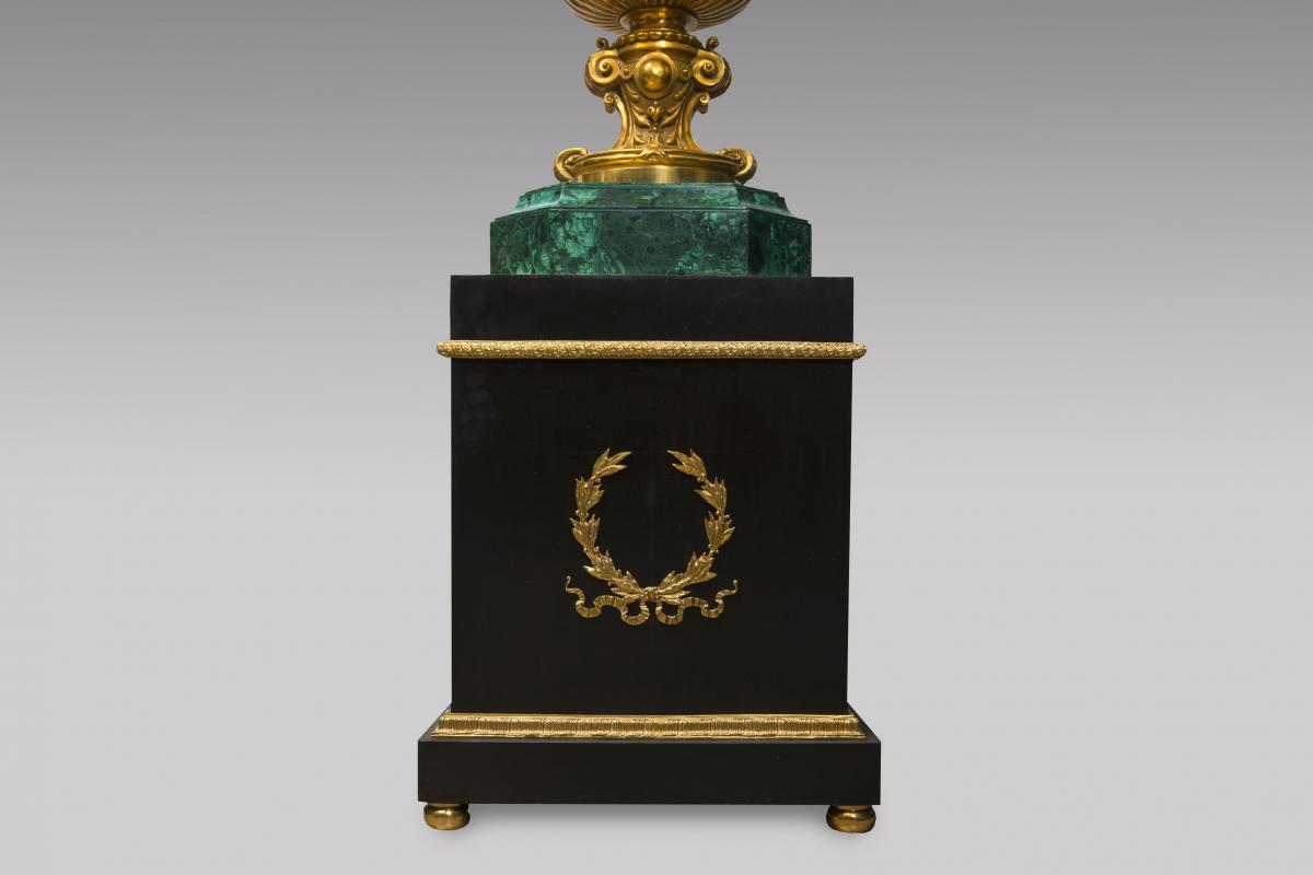 Paire de vases medicis en malachite - Style Louis XVI-photo-2