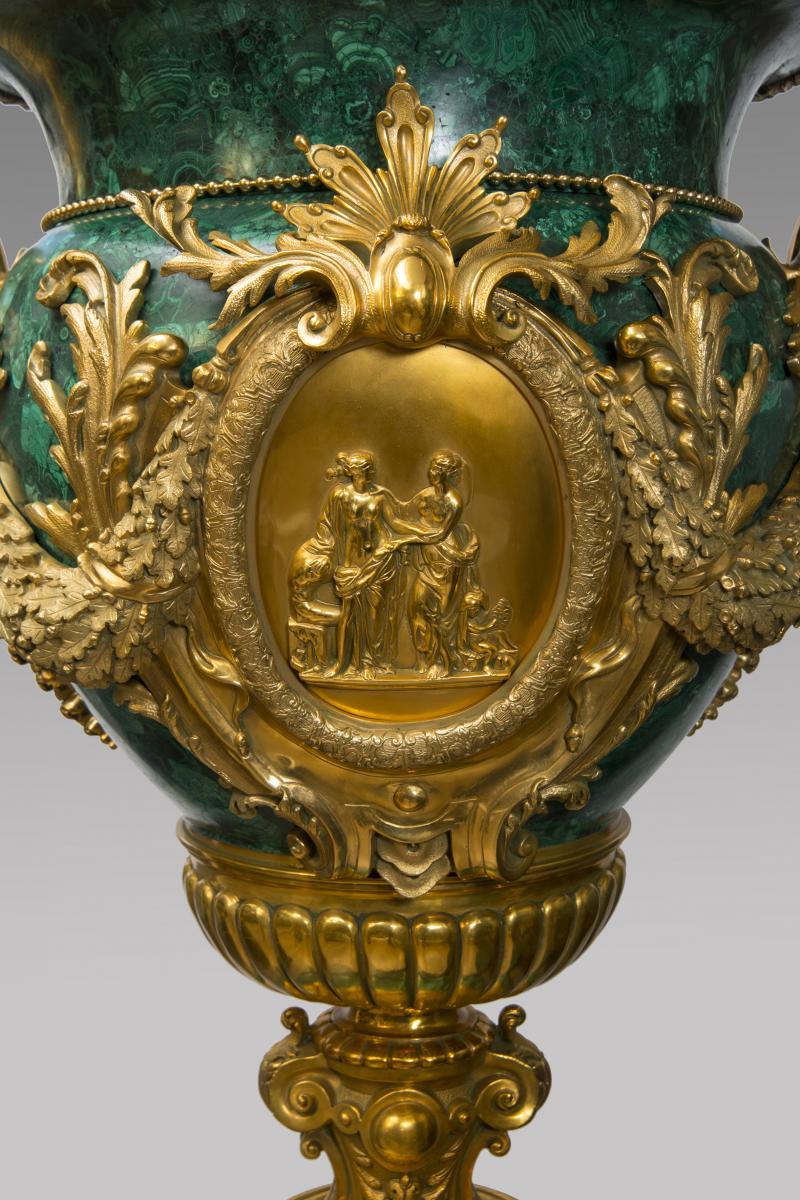 Paire de vases medicis en malachite - Style Louis XVI-photo-3