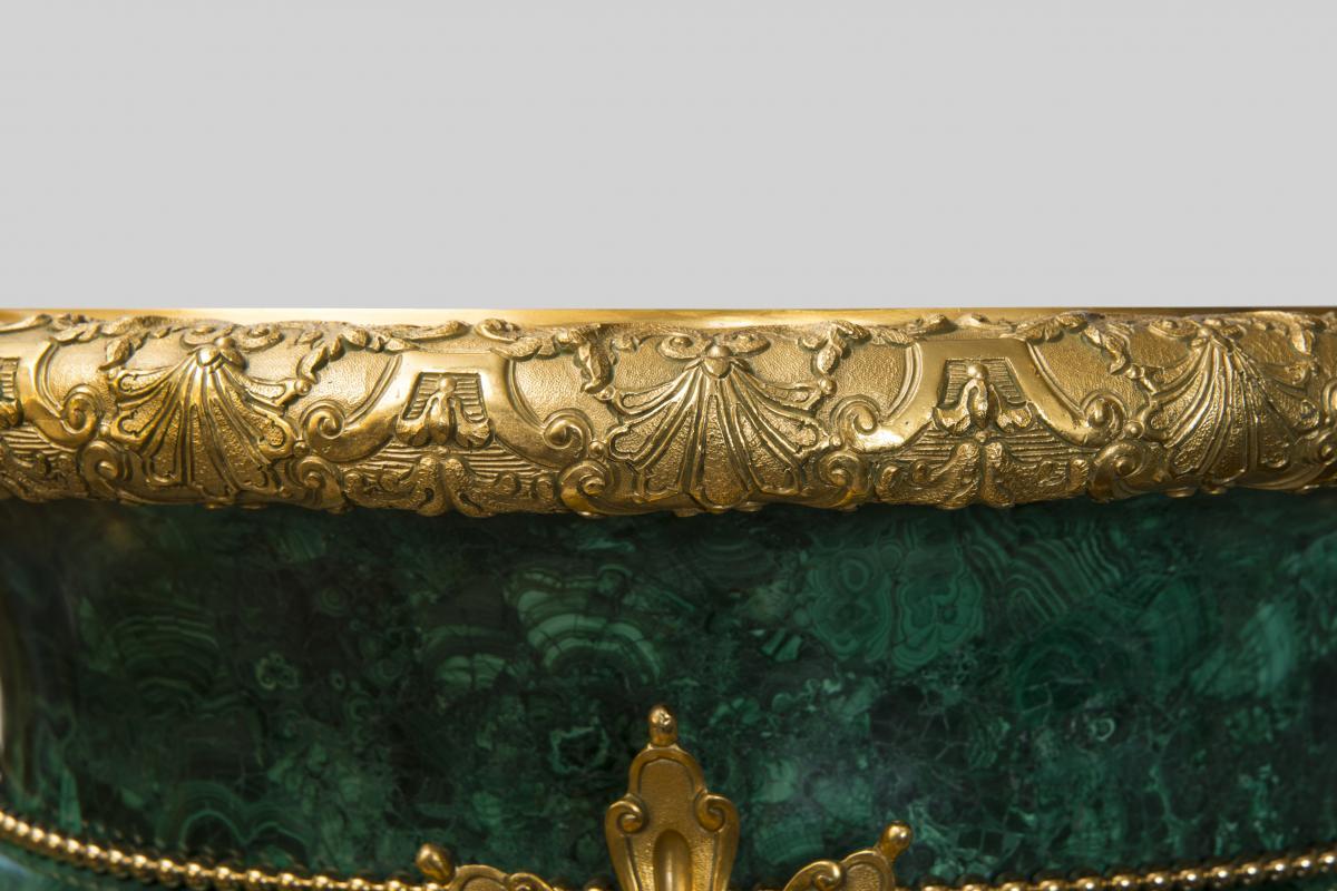Paire de vases medicis en malachite - Style Louis XVI-photo-4