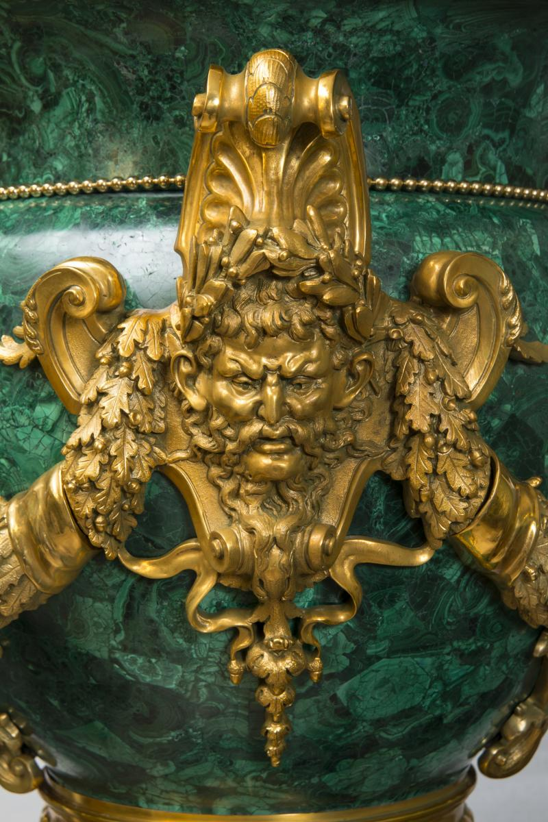 Paire de vases medicis en malachite - Style Louis XVI-photo-1