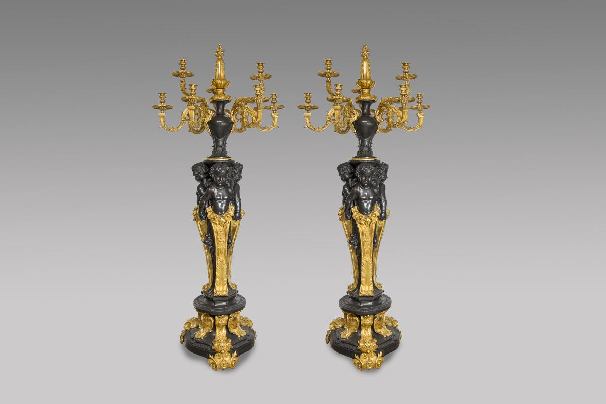 Pair Of Candelabra In Matte And Gilded Bronze - Napoleon III Style For Babies
