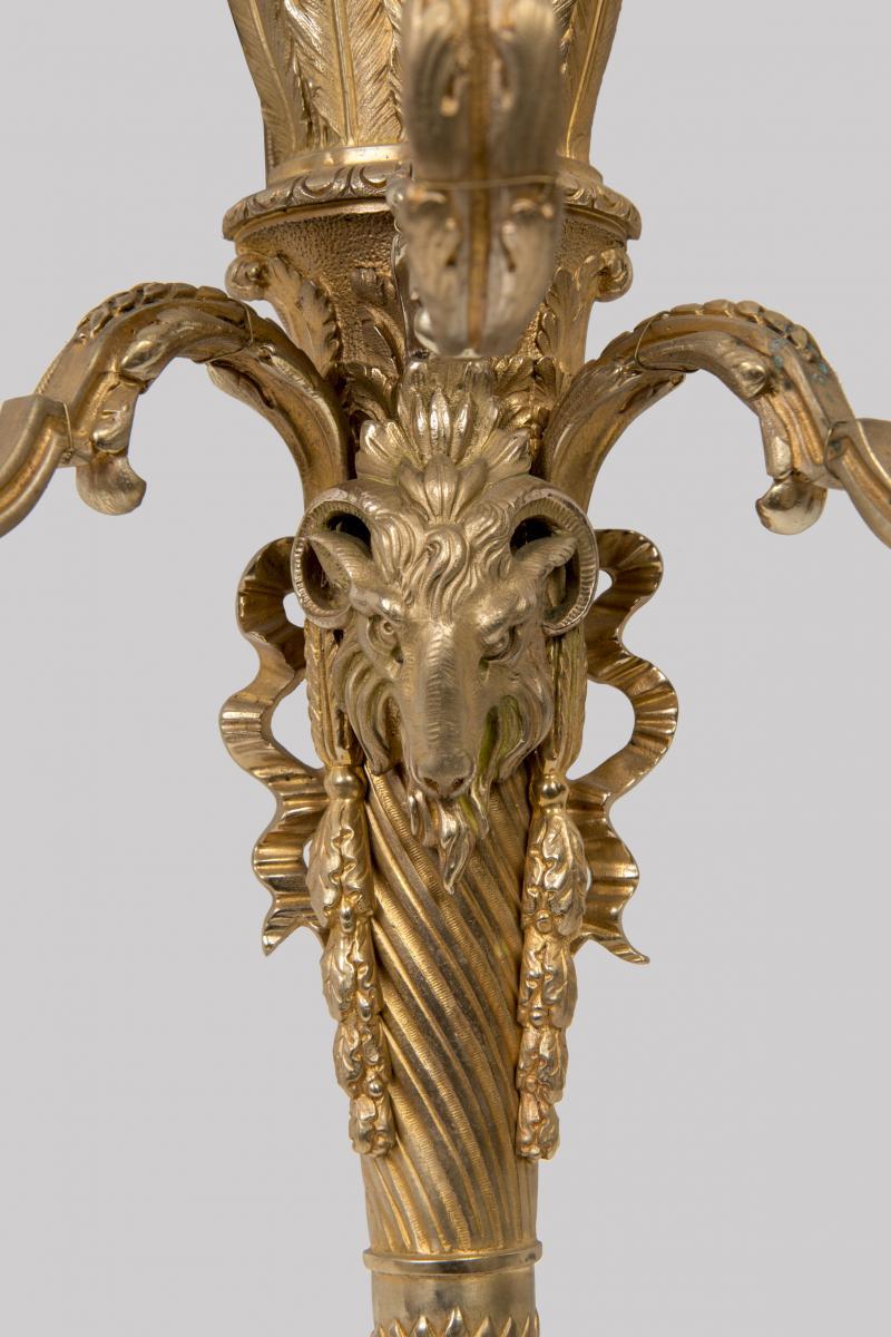 Appliques En Bronze Doré De Style Louis XVI Décor De Tête De Belier-photo-2