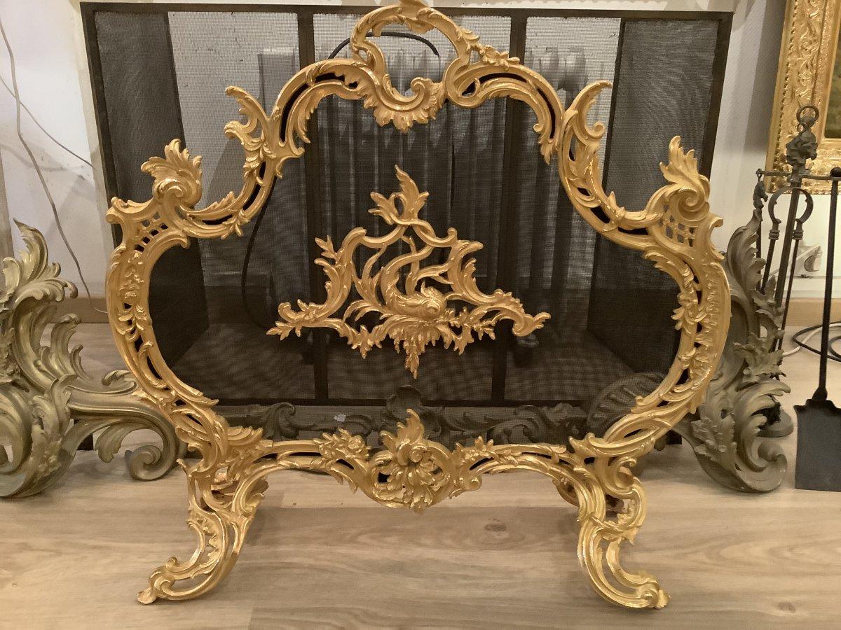 Fire Screen Screen Fireplace 19 Eme Century Golden Bronze