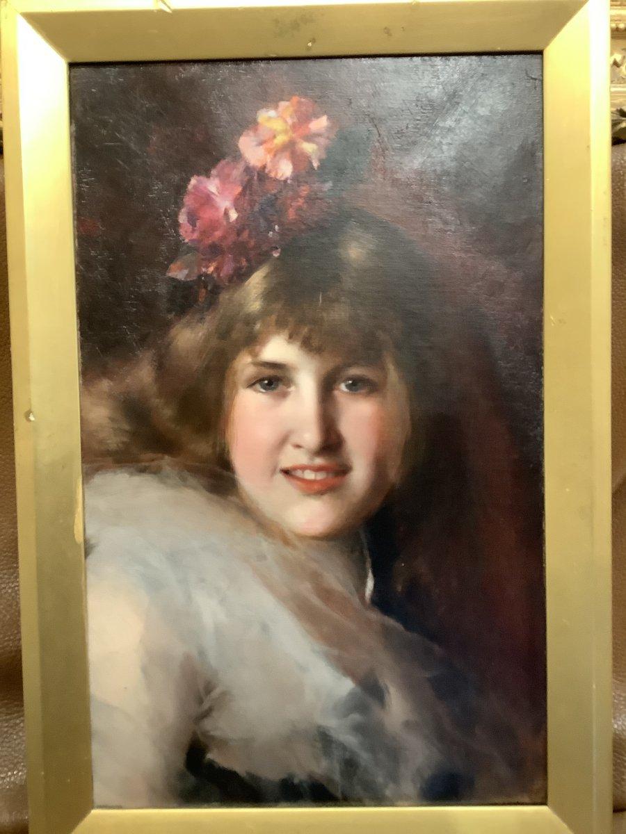Tableau Portrait De Jeune Femme Par Georges L Seymour 19 Eme Siècle