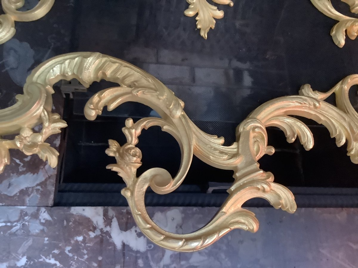 Pare Feu Bronze Doré Style Louis XV époque Fin 19 Eme Siecle-photo-2