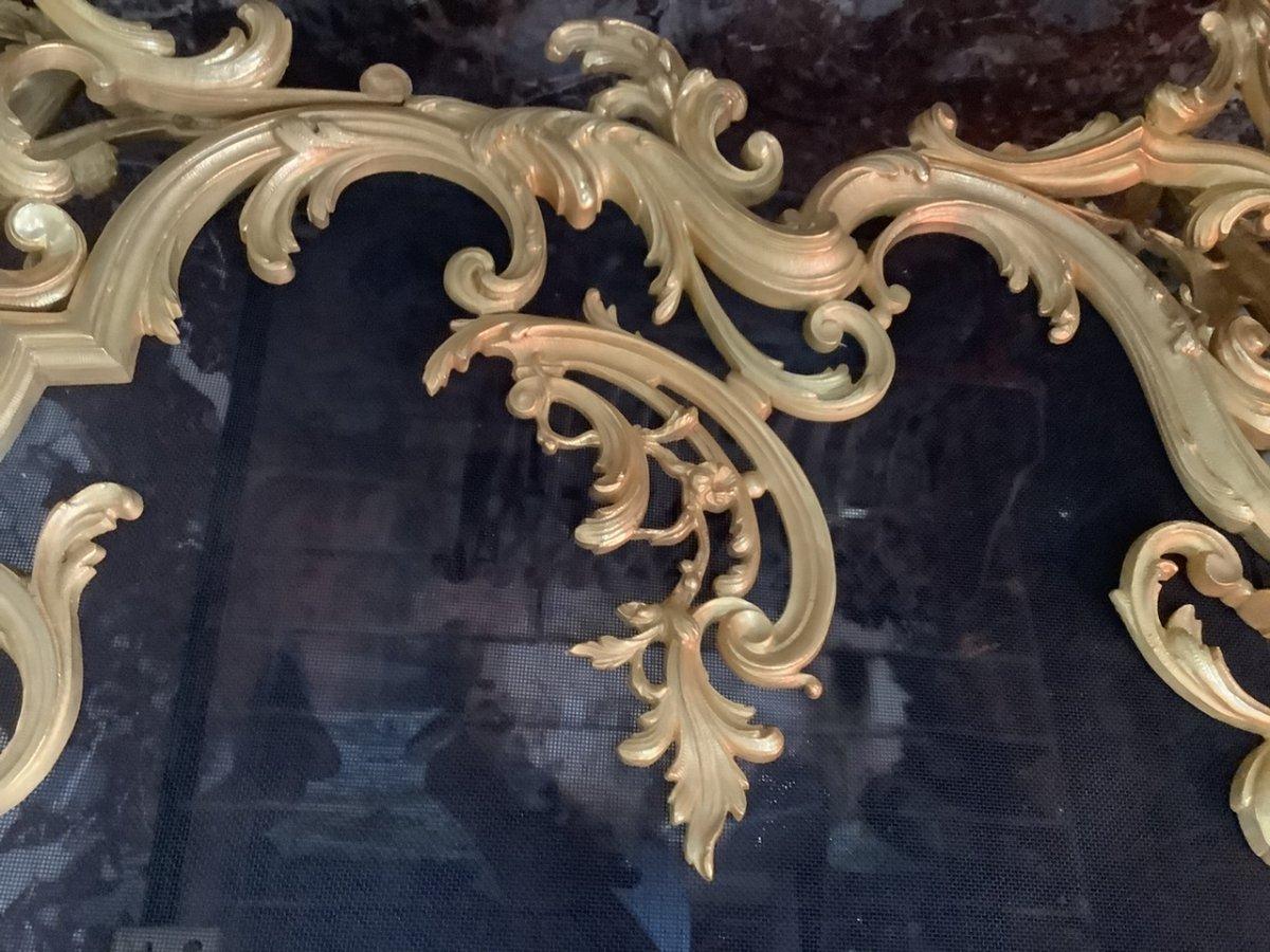Pare Feu Bronze Doré Style Louis XV époque Fin 19 Eme Siecle-photo-3