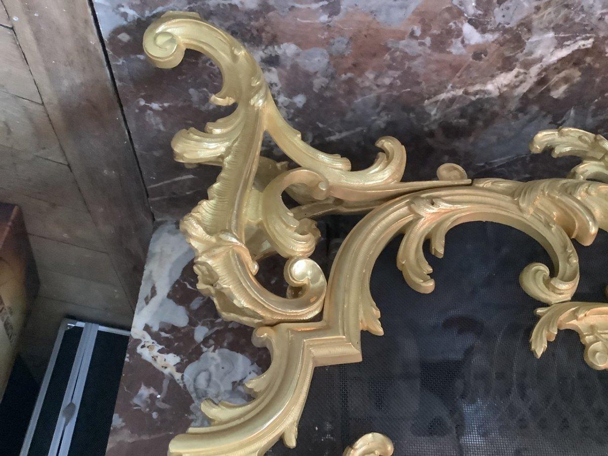 Pare Feu Bronze Doré Style Louis XV époque Fin 19 Eme Siecle-photo-4