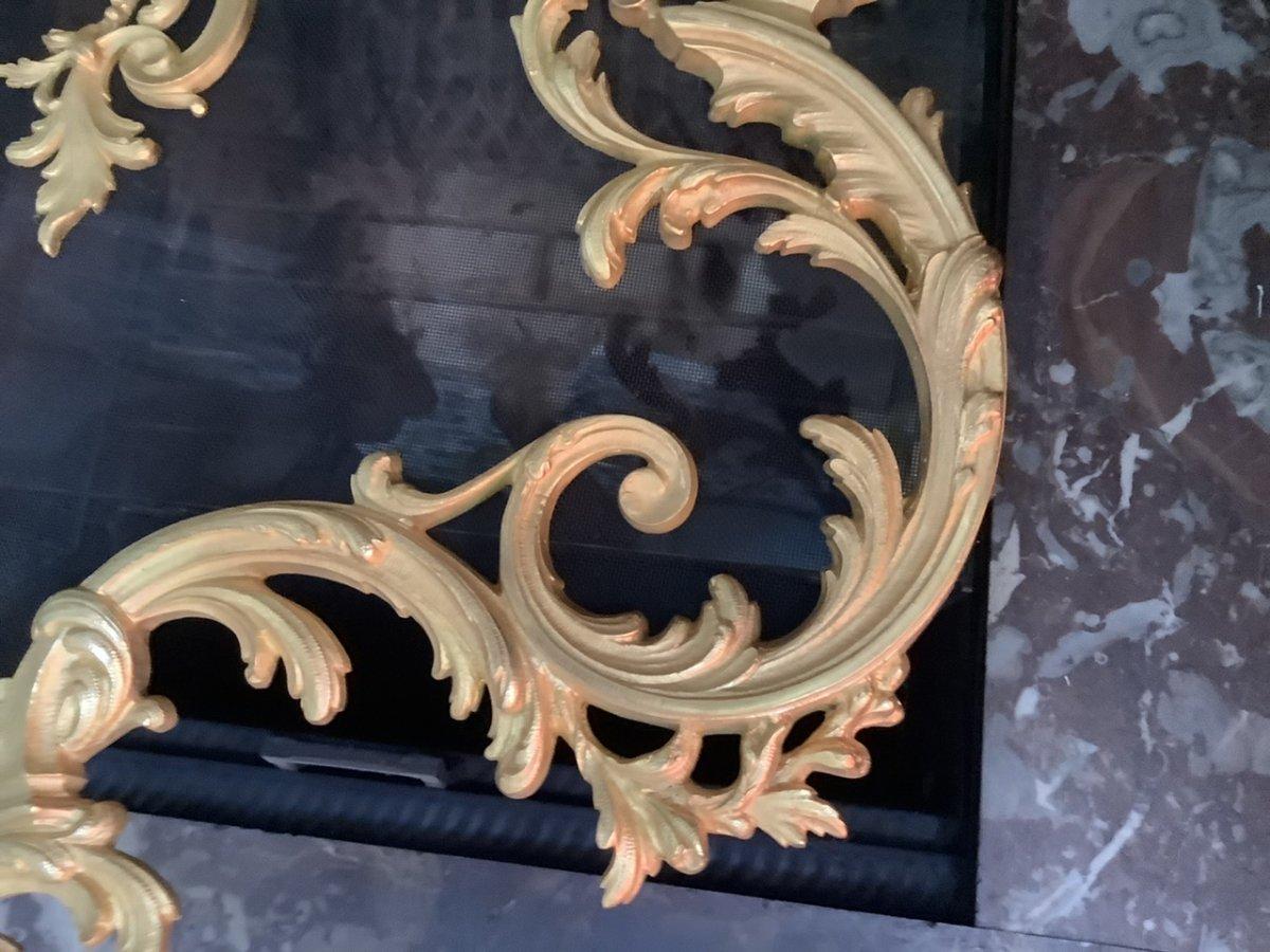 Pare Feu Bronze Doré Style Louis XV époque Fin 19 Eme Siecle-photo-1