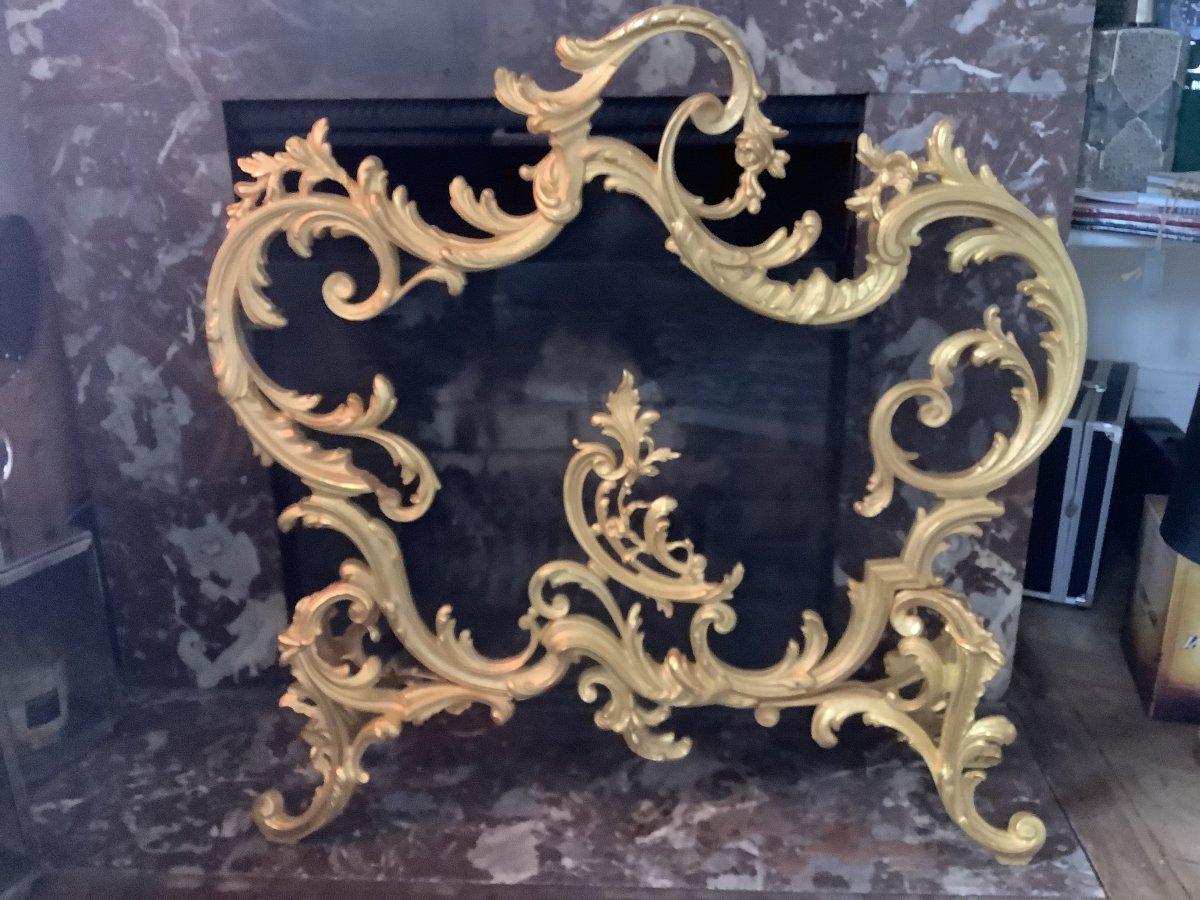 Pare Feu Bronze Doré Style Louis XV époque Fin 19 Eme Siecle