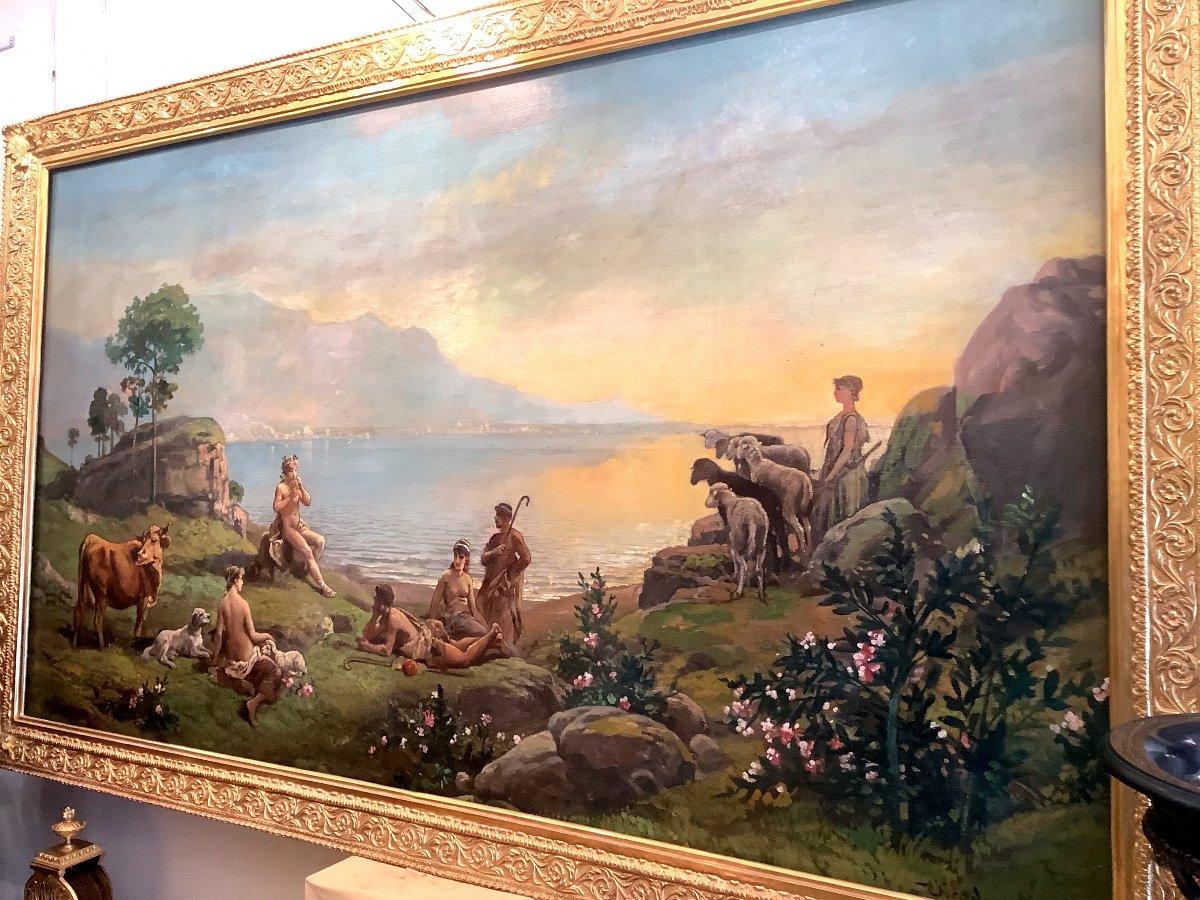 Tableau Paysage Par Théodore Levigne (1848-1912)