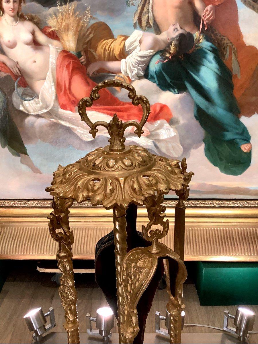 Nécessaire De Cheminée De Style Louis XVI D époque Napoléon III En Bronze Doré -photo-3