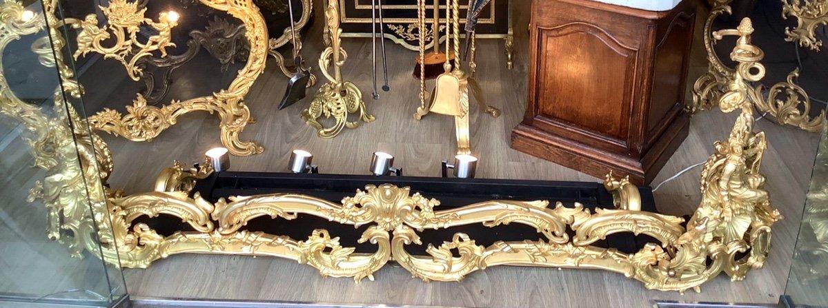 Monumental Barre De Chenets Complète En Bronze Doré De Style Louis XV D'époque Napoleon III-photo-1
