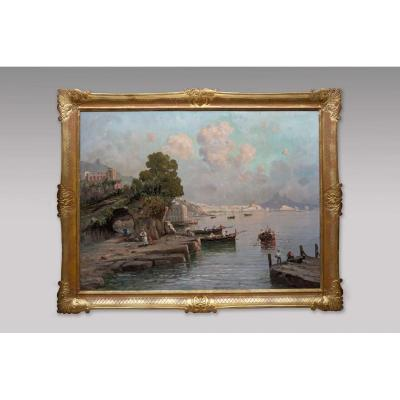 View Of The Bay Of Naples - Nicolas De Corsi