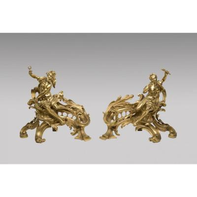 Pair Of Chenet Gilt Bronze - Louis XV Style 19th Century