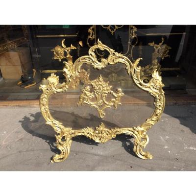 Firewall Louis XV Style Gilt Bronze End Of 19 Eme Century