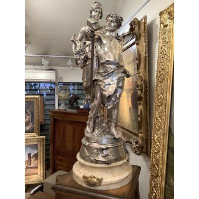 Bronze Argenté Par Eugène Marioton (1857-1933)