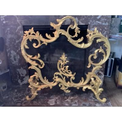 Firewall Gilt Bronze Louis XV Style Late 19th Eme Century