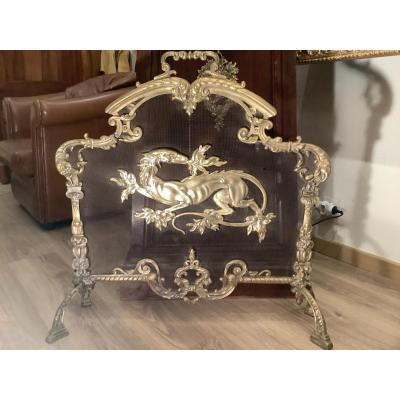 Napoleon III Gilt Bronze Fire Screen
