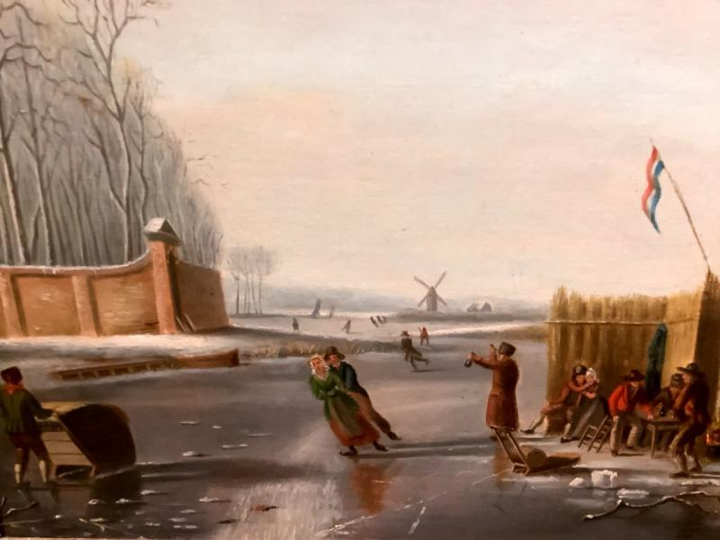 Painting By Andries Vermeulen (1763-1814) Skaters In Winter Su N Lake-photo-2