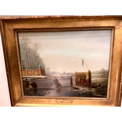 Tableau Par Andries Vermeulen  (1763-1814) Patineurs En Hiver  Su N Lac