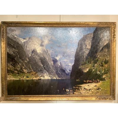 Tableau Paysage De Fjord Danois Par Adelsteen Normann (1848-1910)
