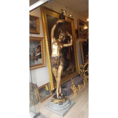 Large Bronze Statue Art Deco Oriental Dancer
