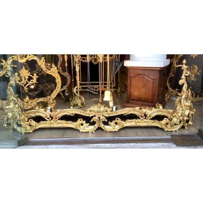 Monumental Barre De Chenets Complète En Bronze Doré De Style Louis XV D'époque Napoleon III