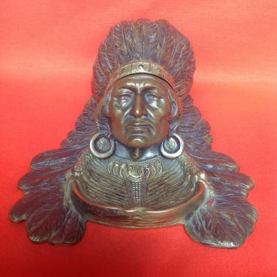 Inkwell Inkwell, Indian Head In Bronze