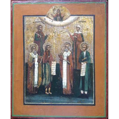 Icône Russe fin du  XVIIIeme, Saint Alexandre et Sainte Barbara