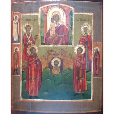 Russian Icon From The End Of The 18th Century, Madonna And Child Surrounded By Saints