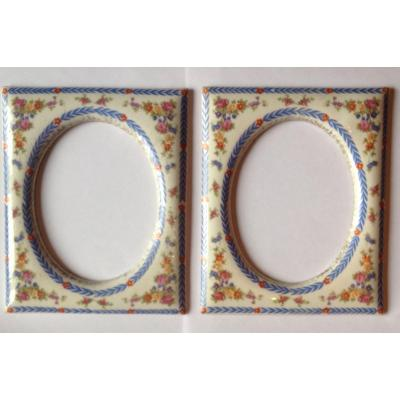 Pair Of Porcelain Medallion Frames Early 20th Century