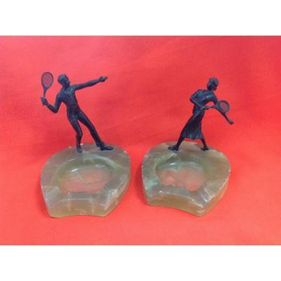 Bronzes de Vienne Couple de Joueurs de Tennis, années 1920