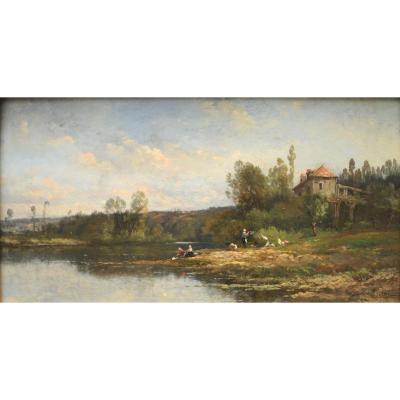 Jules Rozier - Lavandières au bord d'un fleuve