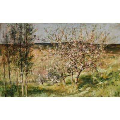 Auguste Jean Claire - Pommiers En Fleurs