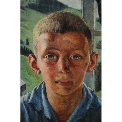 Huile sur toile marouflée - Portrait Garçon